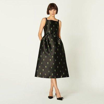Rosalind Black Floral Jacquard Dress, Black