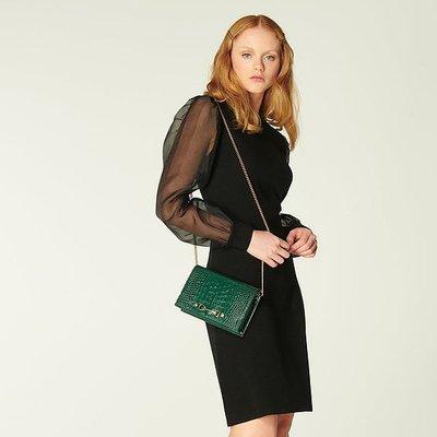 Rosa Black Merino Wool Silk Organza Sleeve Dress, Black