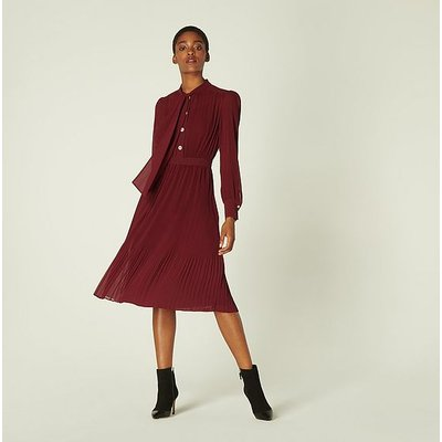 Singer Burgundy Pleated Georgette Dress, Burgundy