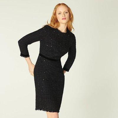 Sparkle Black Lurex Tweed Dress, Black