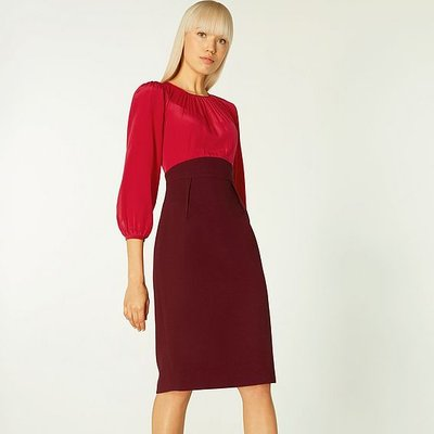 Suzette Two-Tone Silk & Crepe Dress, Burgundy