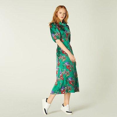 Vita Green Floral Print Silk Midi Dress, Green