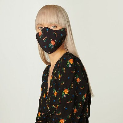 Gabrielle Black Floral Print Face Mask, Black Multi
