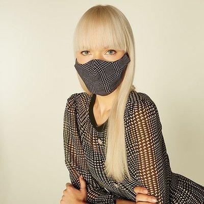 Lyra Black & White Houndstooth Face Mask, Black White