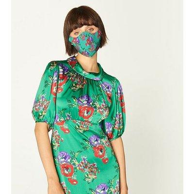Vita Green Floral Print Face Mask, Green