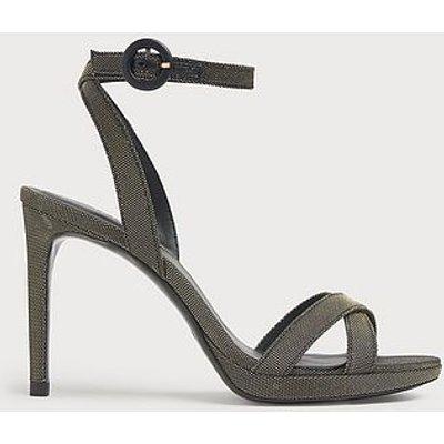 Neath Black & Gold Mesh Platform Sandals, Gold