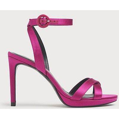 Neath Pink Satin Platform Sandals, Magenta