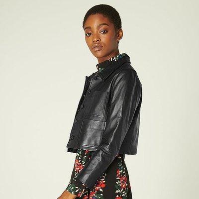 Aubree Black Leather Cropped Jacket, Black