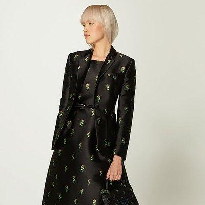 Rosalind Black Floral Jacquard Jacket, Black