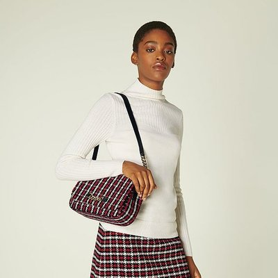 Michelle Red Tweed Crossbody Bag, Red Check