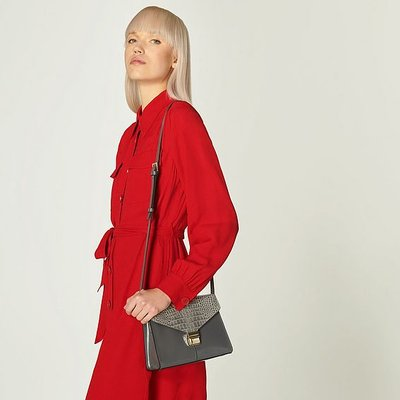 Miranda Smoke Grey Leather Crossbody Bag, Smoke