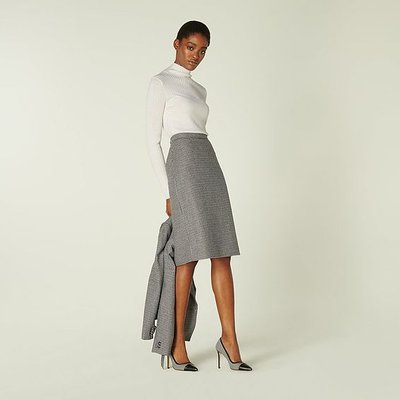 Nina Black & White Dogtooth Pencil Skirt, Cream
