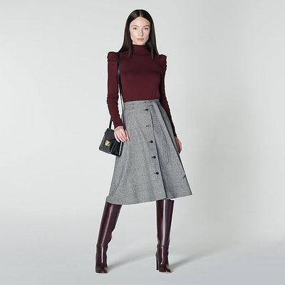 Sage Prince of Wales Check Midi Skirt, Grey