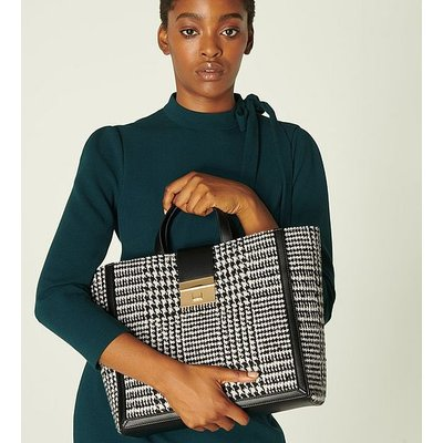 Leia Black & White Check Tote Bag, Black