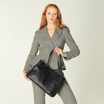 Lilian Black Leather Tote Bag, Black
