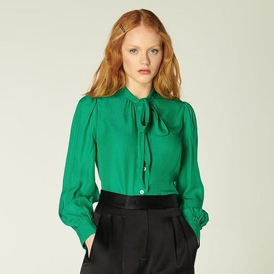 Gigi Green Jacquard Pussy Bow Blouse, Emerald