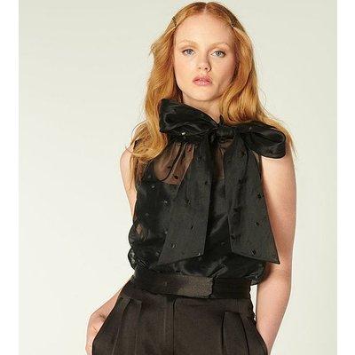 Glinda Black Spot Embroidered Silk Organza Top, Black