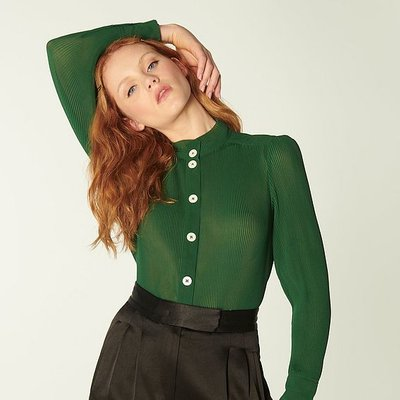 Singer Green Pleated Georgette Blouse, Forest
