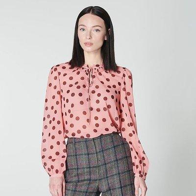 Tate Pink Spot Print Blouse, Light Pink