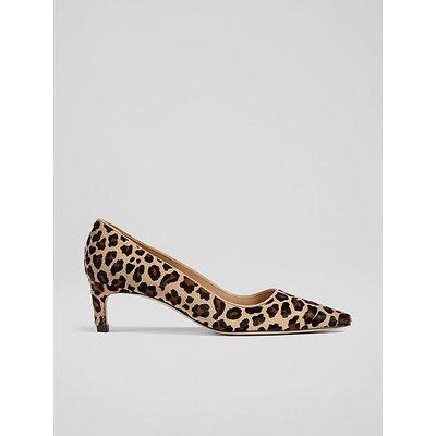 Ava Leopard Print Calf Hair Kitten Heel Courts, Natural
