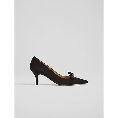 Bethany Black Suede Spot Mesh-Detail Courts, Black