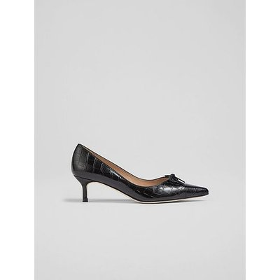 Missy Black Croc-Effect Leather Bow-Detail Courts, Black