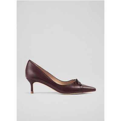 Missy Red Leather Bow-Detail Courts, Wine