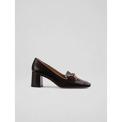 Samantha Black Leather Snaffle-Detail Courts, Black