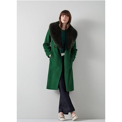 Ava Green Wool-Blend Faux Fur Collar Coat, Green