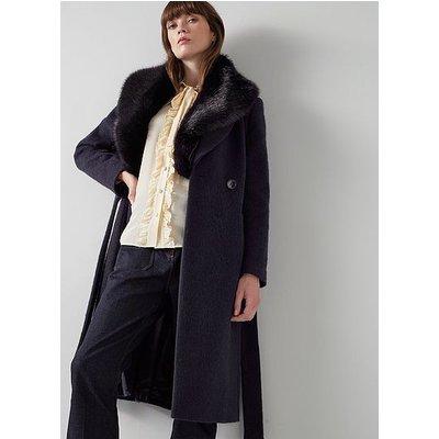 Ava Navy Wool-Blend Faux Fur Collar Coat, Navy