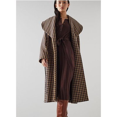 Manon Brown and Black Houndstooth Check Wool-Blend Coat, Toffee Black