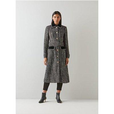 Osborne Black and White Tweed Coat, Black Mix