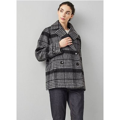Peluso Grey Check Wool-Blend Pea Coat, Multi