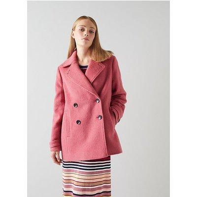 Peluso Pink Wool-Blend Pea Coat, Pink