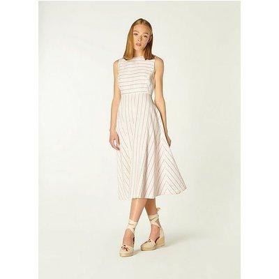 Clementine Cream and Red Stripe Cotton-Linen Dress, Multi