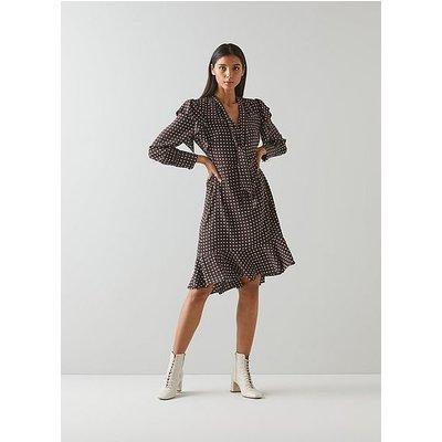 Elizabeth Brown and Cream Polka Dot Silk Dress, Brown