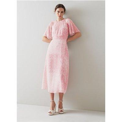 Elowen Pink Animal Print Midi Dress, Animal