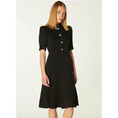 Esme Black Crepe Crystal Button Tea Dress, Black