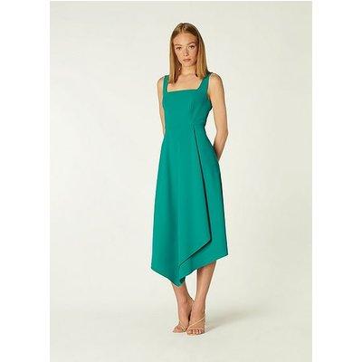 Geneive Teal Asymmetric Hem Dress, Turquoise