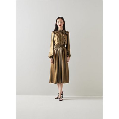 Gish Gold Lame Tie Neck Dress, Gold