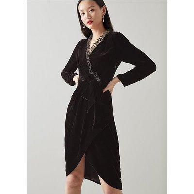 Grettel Black Velvet Wrap Dress, Black