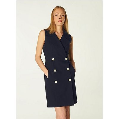 Hillier Navy Double-Breasted Tailored Dress, Midnight