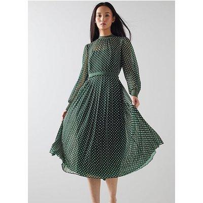 Marianne Green and Cream Spot Print Pleated Dress, Green