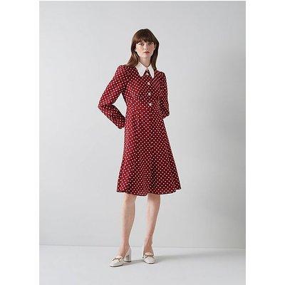 Mathilde Bordeaux and Cream Polka Dot Silk Tea Dress, Red Multi