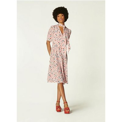 Mika Pink Scattered Rose Print Silk Tea Dress, Pink Multi