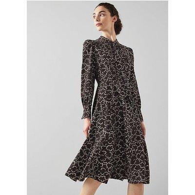 Mortimer Black and White Floral Print Wool-Blend Dress, Black Cream