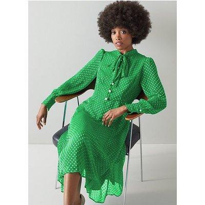 Mortimer Green Silk-Blend Self-Spot Dress, Green