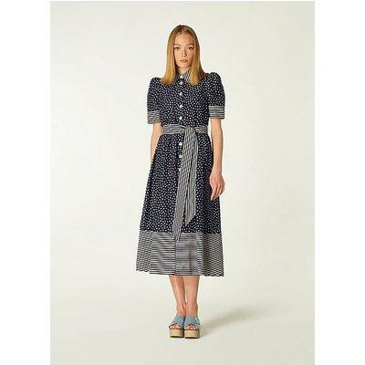 Smith Navy and Cream Spot Print Cotton-Silk Shirt Dress, Cream