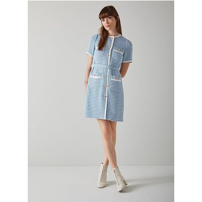 Valentina Blue and Cream Houndstooth Tweed Dress, Blue Cream