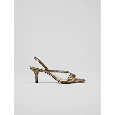 Gretal Bronze Glitter Asymmetric Strappy Sandals, Bronze